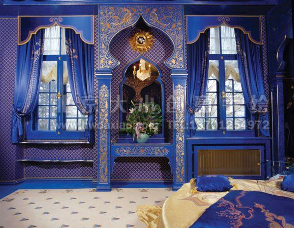 藍色迷情--阿拉伯風格精致別墅手繪墻壁畫 墻體彩繪圖片