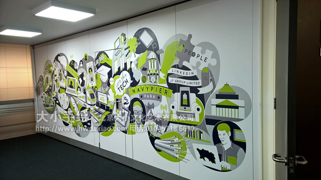 科技感十足的办公室手绘墙壁画 墙体彩绘图片