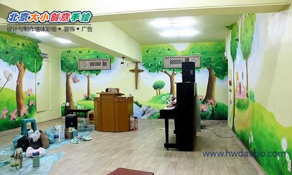 舞蹈教室手绘墙 墙体彩绘