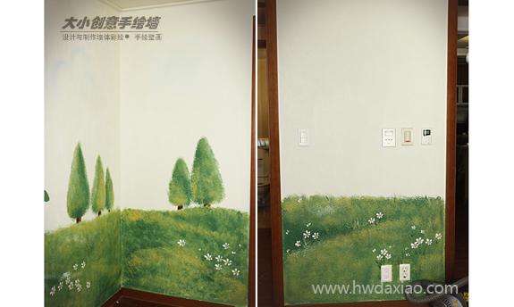 卡通森林儿童房手绘墙