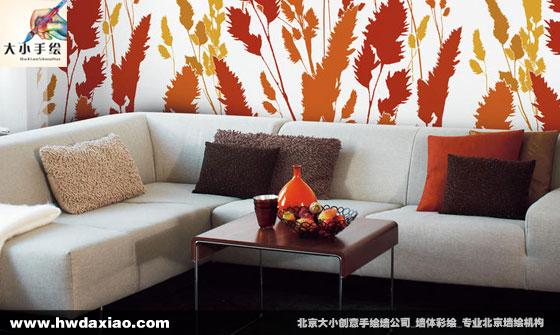 现代手绘沙发背景墙