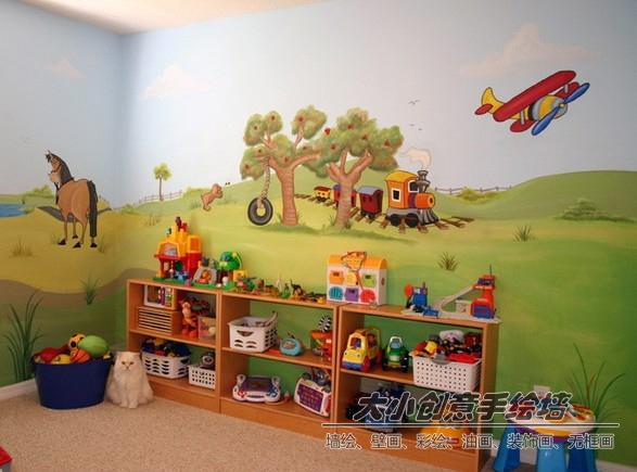 草原小动物儿童房墙绘